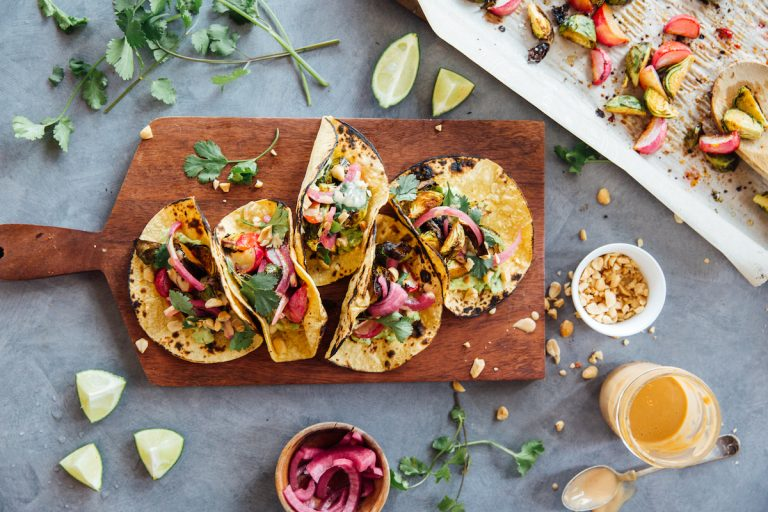 Spicy peanut Brussels sprouts tacos are a vegetarian meal, we want it now